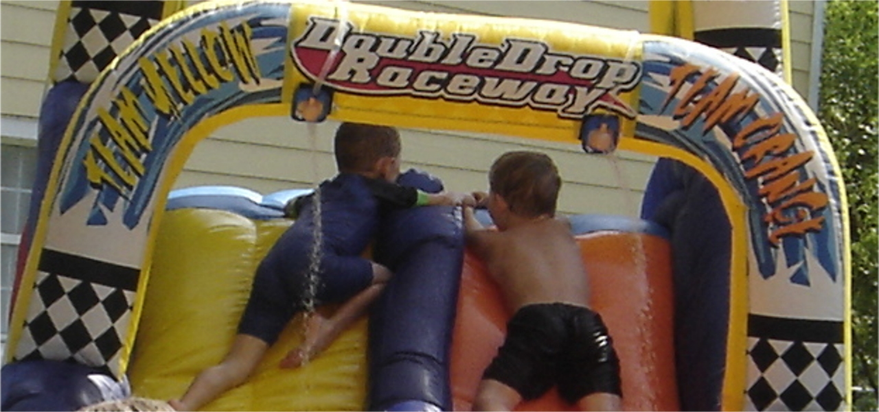 boys waterslide fun